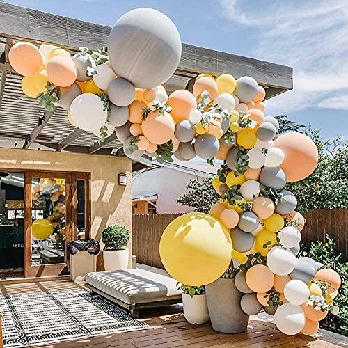 Gray Blush Lemon Yellow Balloon Garland Kit, 106pcs Balloons Party Decorations for Baby Shower,Bridal Shower,Birthday Party,Wedding, Grad, Fall Party