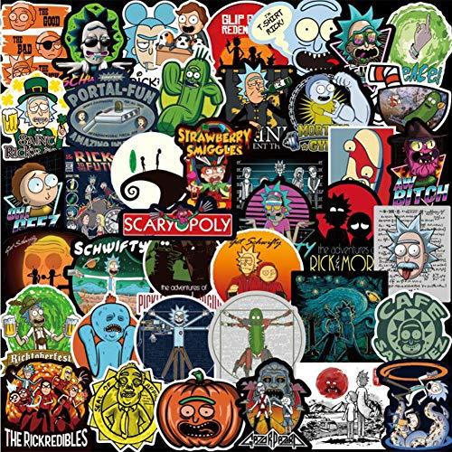 WayOuter 100pcs Aufkleber Rick und Morty PVC Wasserdicht Vinyl Stickers Decals für Laptops, Autos, Motorräder, Tragbares Gepäck