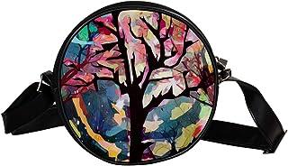 Coosun Umhängetasche mit Baum, Mond, Nacht, Himmel, Landschaft, runde Umhängetasche für Kinder und Damen