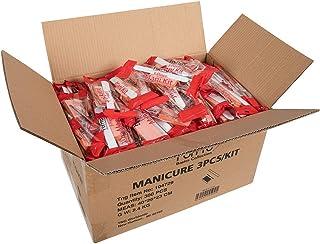 ForPro Basics 3-Piece Mani Kit, White Wood Nail File 100/180 Grit, Orange Mini Buffer 100/180 Grit, Wood Stick, 300-Count