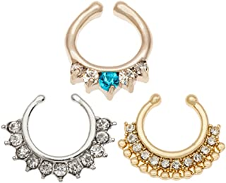 Unique Set of 3 316L Surgical Steel Nose Rings / Hoops / Hangers Piercings / Septum Clickers Including Silver And Golden With Crown Ornaments And Clear And Blue Rhinestones
