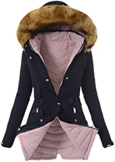 Womens Faux Fur Hoodie Zip Up Front Coat Quilted Down Jacket Outwears