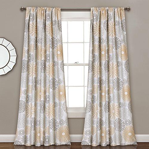 Lush Decor Multi Circles Curtain Panel, 0, Yellow/Gray
