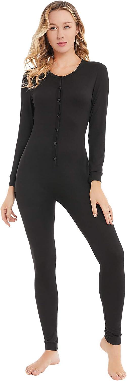 YANGXINYUAN Womens Onesie Pajamas Base Layers Thermal Underwear Long Sleeve Jumpsuit Sleepwear