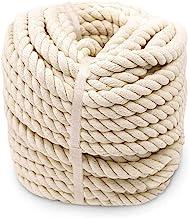 Aoneky Katoen Gevlochten Touw-30m x 14mm / 16mm, Handgemaakte Naturel Vezel in 3 Strengen voor DIY Craft String Breien, Ho...