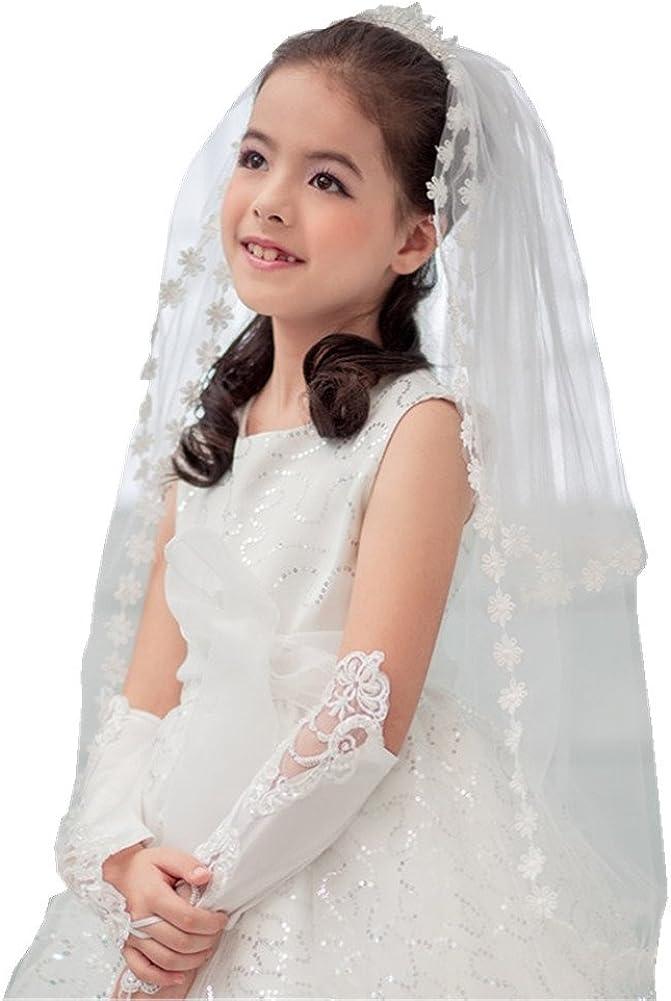 Shop Ginger Wedding Girls 2T White Holy First Communion Veil Tiara Lace Edge