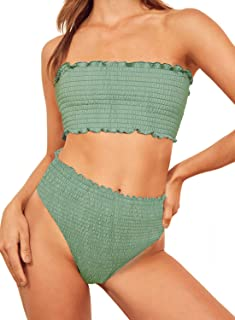 Aleumdr Womens 2 Pieces Bandeau Bikini Swimsuits Off Shoulder High Waist Bathing Suit