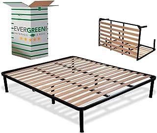 EvergreenWeb - Sommier Lit Double pliable 140x190 Haut 35 cm Lattes en Bois avec 6 Pieds Amovible