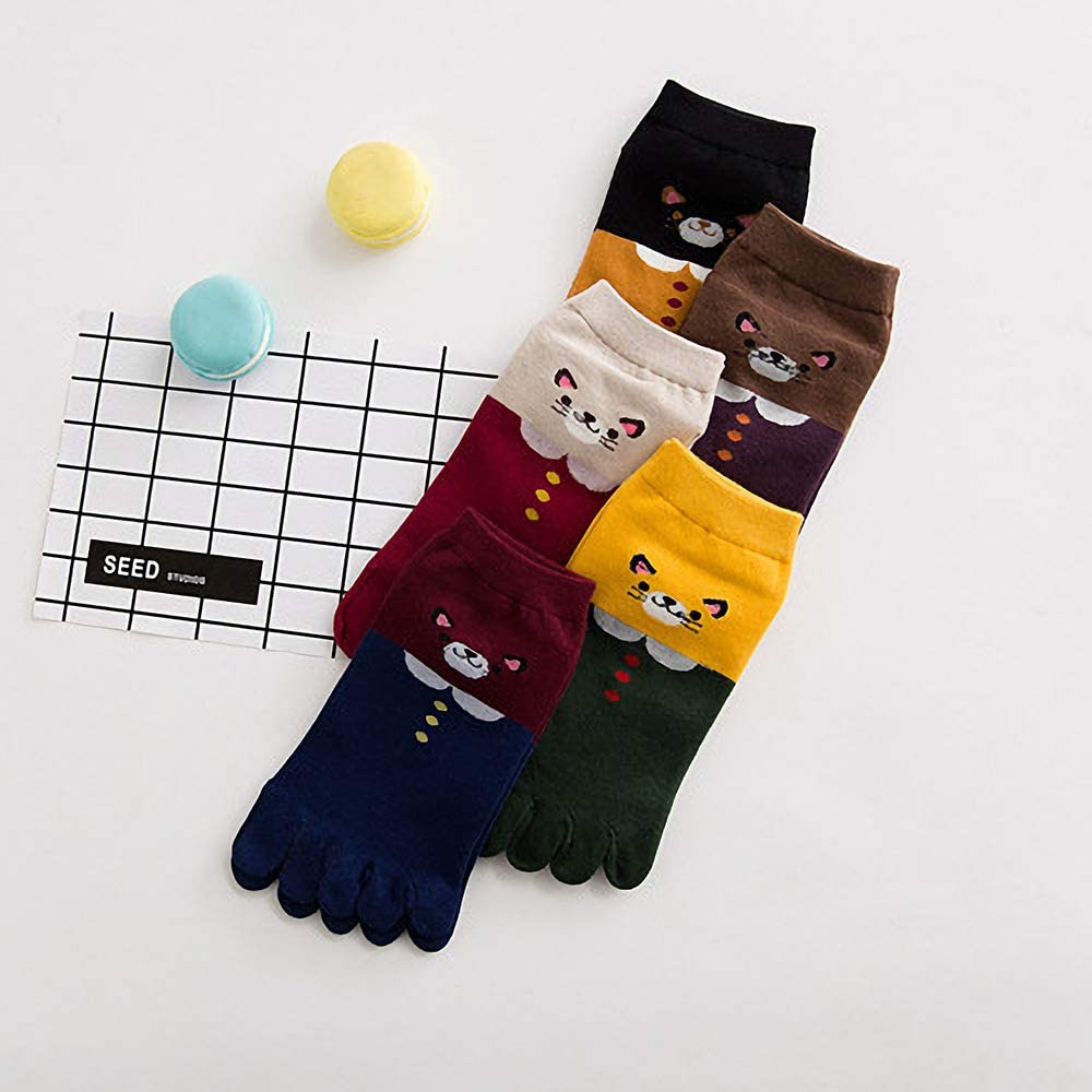 warmshop888 5 Pairs Women's Toe Sock Cute Cartoon Animal Cat Ankle Sock Cotton Athletic Running Five Finger Socks for Girls