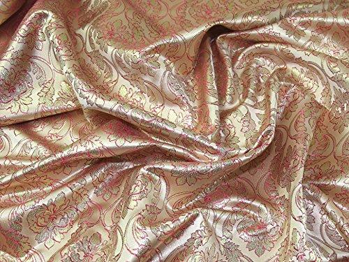 Minerva Crafts Brokat-Stoff, gewebt, metallisch, Rosa, Meterware