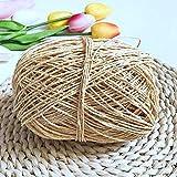 HUAHU 100 g/Lote Hilo orgánico para Tejer Hilo de Cuerda de Paja de Rafia Hilo de Ganchillo sólido para Sombreros Hechos a Mano DIY cestas artesanías