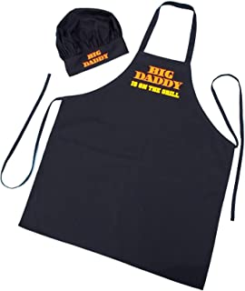 Chef Hat and Apron Set Big Daddy Is On The Grill - BBQ Aprons For Men