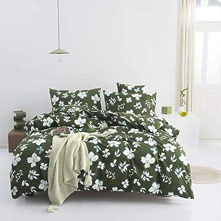 Nitwy Parure de lit moderne avec housse de couette et 2 taies d'oreiller 80 x 80 cm Motif fleurs 200 x 200 cm Vert/blanc