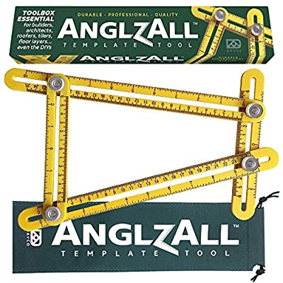 UPGRADED Angle-izer Angle Finder Multi-Angle Measuring Angle Ruler Template Tool ANGLZALL ™ - All Angles and Forms - Metal Instrument for Builders Craftsmen Tilers Handymen Carpenter Roofers DIY
