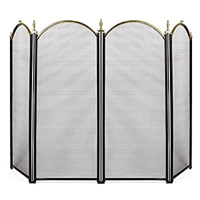 Amagabeli Large Gold Fireplace Screen 4 Panel Ornate Wrought Iron Black Metal Fire Place Standing Gate Decorative Mesh Solid Steel Spark Guard Cover Outdoor Tools Accessories from AMAGABELI GARDEN & HOME