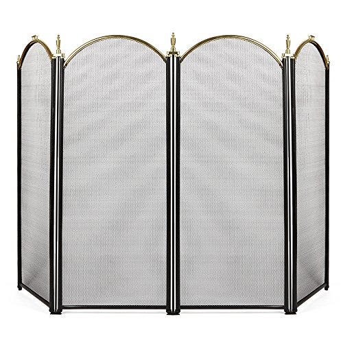 Amagabeli Large Gold Fireplace Screen 4 Panel Ornate Wrought Iron Black Metal Fire Place Standing Gate Decorative Mesh Solid Steel Spark Guard Cover Outdoor Tools Accessories