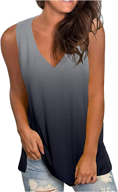 POLLYANNA KEONG Tank Tops for Women,Women's Flower Print Graphic Sleeveless Tank Tops Casual Summer Loose Fit Shirt Tees