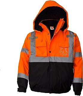 Troy Safety WJ9011 Men's ANSI Class 3 High Visibility Bomber Safety Jacket, Waterproof (2XL, Orange)