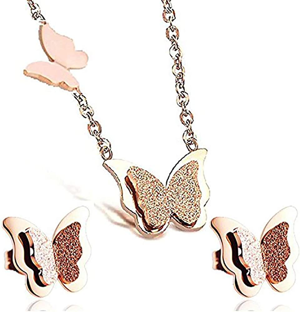 butterfly necklace and earring sets 18K Rose Gold Plated Titanium Steel Butterfly Pendant Necklace + Earrings Set For Women Girls