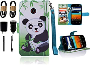 for ZTE N818S QLink Wireless Case Wallet Grip Kickstand Pouch Pocket Purse Screen Flip Cover for ZTE Sapphire 3g [Value Bundle] (Panda)