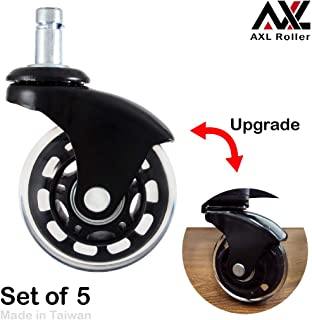 AXL 2.5 inch Office Chair Caster Wheel Replacement for Rollerblade Wheels Heavy Duty Casters for Hardwood Floors Safe (IKEA 10mm) (2.5 inch Black, Black/Clear)