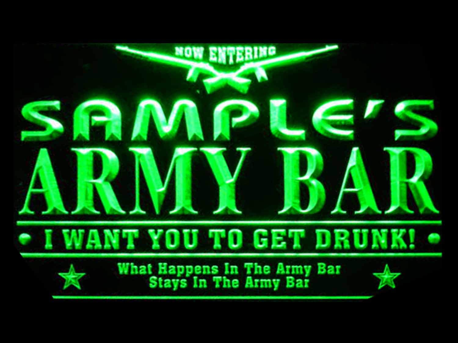 Name Personalized Custom Army Man Cave Bar Green Beer Sign New color store Neon