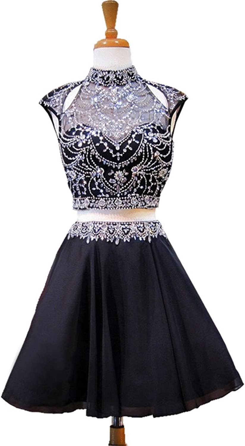 Hjtrust Women's Crystals Sequins Homecoming Dresses Two Piece Short Prom Gowns H017