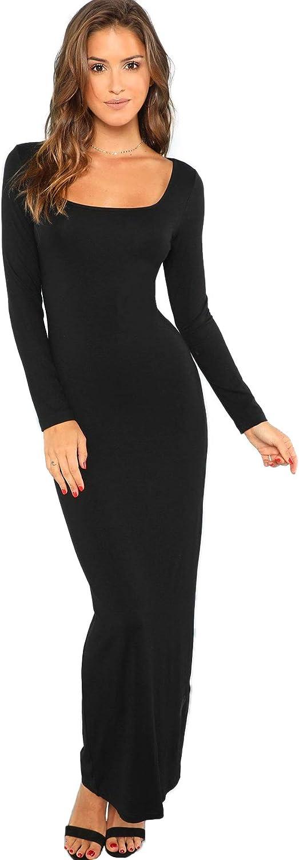 Verdusa Women's Long Sleeve Square Neck Bodycon Maxi Long Dress