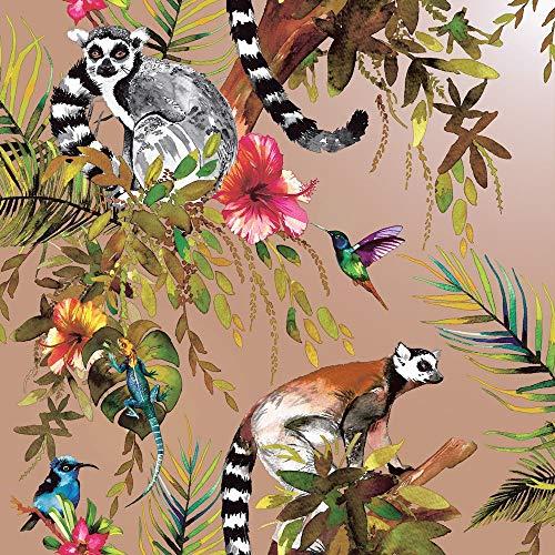 Tapete mit Lemur-Motiv, Farben: Rosa, Gold, Thema: tropisch, Dschungel, Vögel, Blumen, Bäume, Tiere