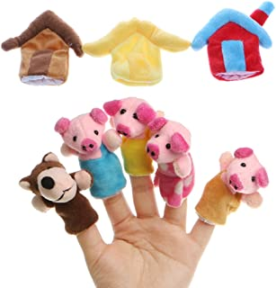 Leidersty Three Little Pigs Story Finger Puppets Set Kids Educational Puppets for Baby, Infant, Toddlers, Kids