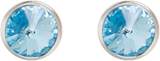 DSE By Swarovski 18K White Gold Plated Blue Stone Earrings, 5087670