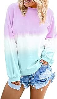 FIYOTE Women Casual Pullover Tops Color Block Long Sleeve Lightweight Sweatshirt Blouses S-2XL