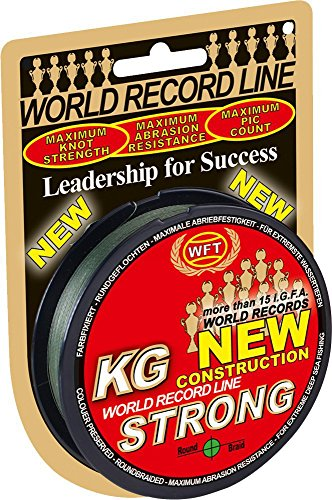 WFT KG STRONG 150m 0,25mm 39kg, geflochtene Schnur, Meeresschnur, Angelschnur, Geflechtschnur, Farbe:Grün