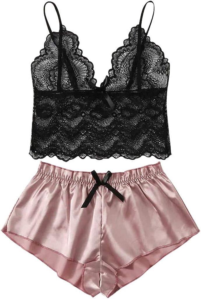 Gergeos Sexy Babydoll Lace Bra+Tops Underwear Set Womens Sleepwear Lingerie Pajamas Suit
