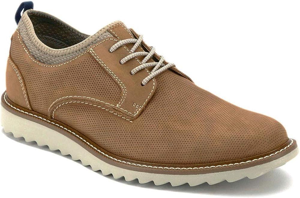 Dockers Mens Fleming Leather Smart Series Dress Casual Oxford Shoe, Tan/Grey, 7 M