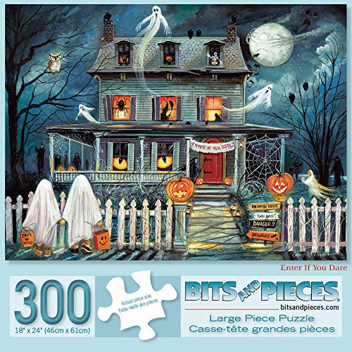 Bits and Pieces - 300 Piece Jigsaw Puzzle for Adults 18' X 24' - Enter If You Dare - 300 pc Haunted House Halloween Trick or Treat Jigsaw by Artist Ruane Manning