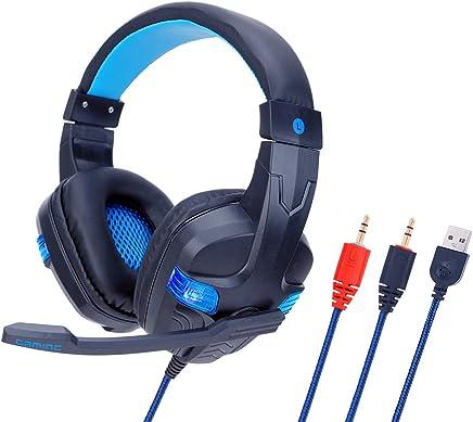 MLYWD Cuffie per PC, Microfono Incorporato, Cuffie con Audio Surround, Cuffie da Gioco, Cuffie da Gioco con Cavo Leggero con Microfono per Tablet Portatile, Blu/Rosso - Trova i prezzi più bassi