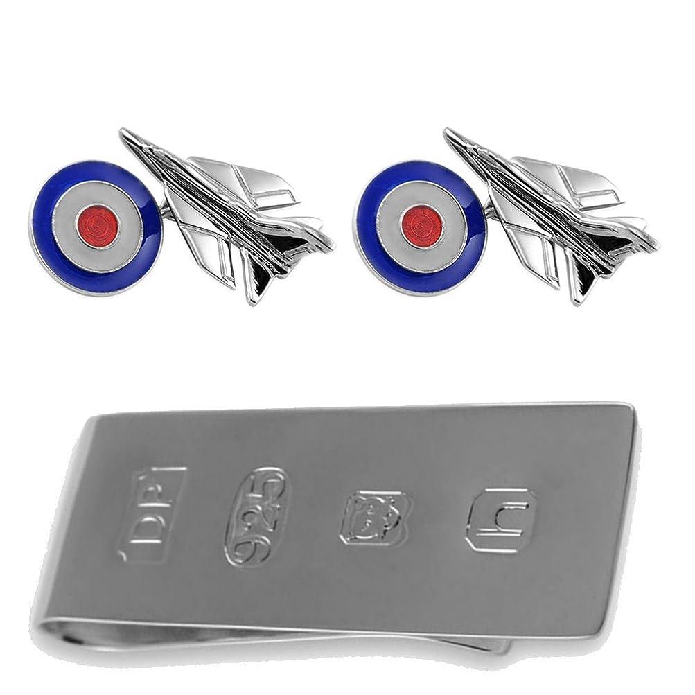 気取らない民主主義陽気な純銀製のジェット戦闘機と RAF 銘文 カフスボタン ジェームズ?ボンドのお金クリップボックスセット