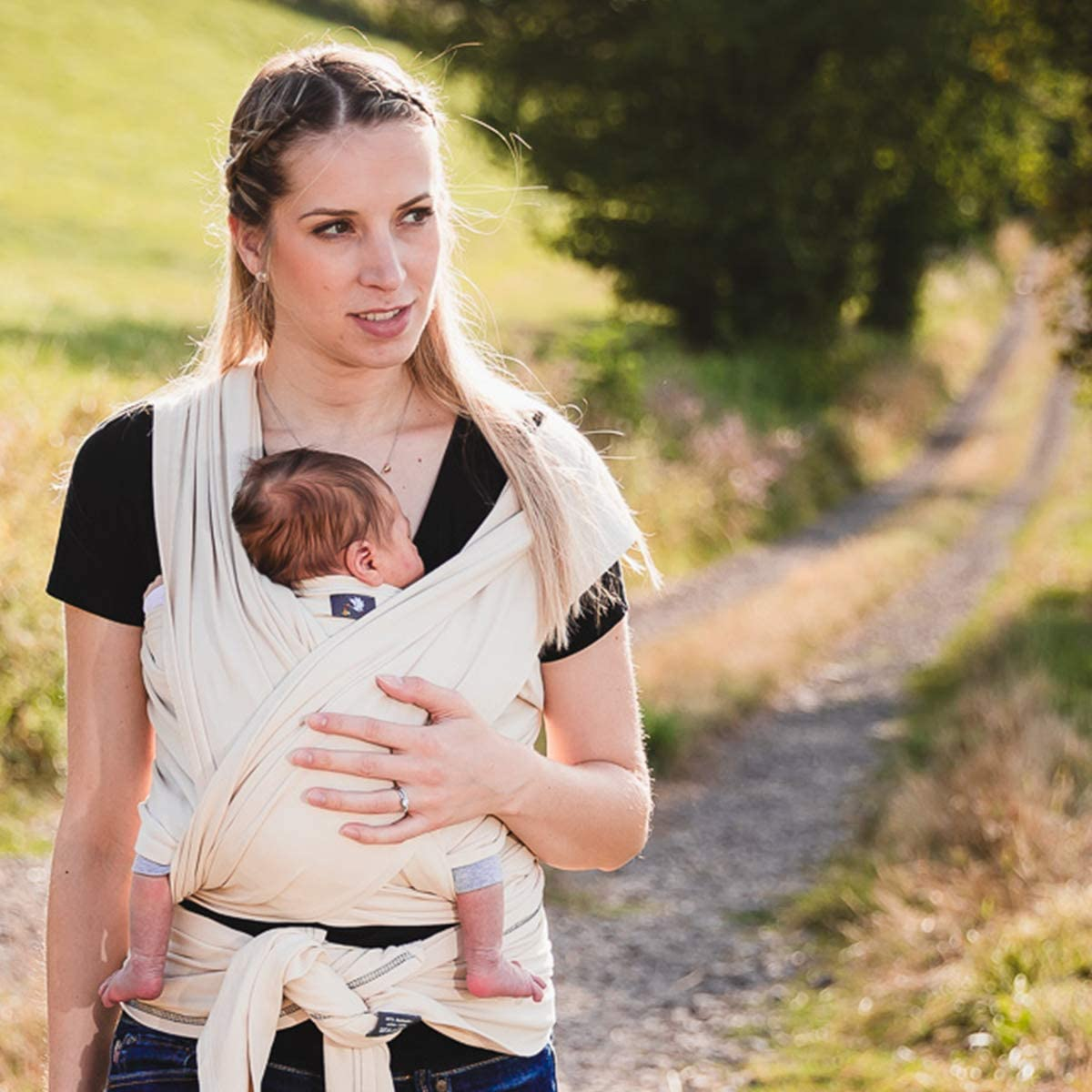 Hoppediz 4.60 m Elastic Newborn and Premature Baby Sling GOTS Chestnut
