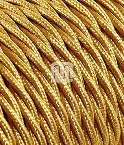 Cavo Elettrico Treccia In Tessuto 5 Mt 2x0,75 Colorato Oro