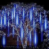 Twaray 30 Cm / 50 Cm Impermeable Led Meteor Ducha Luces De Lluvia Caída Luces De Cadena para Al Aire Libre Home Garden Fiesta De Boda Vacaciones(Size:30CM,Color:Azul)