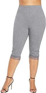 Women Plus Size High Waist Pants Elastic Lace Sport Yoga Shorts Cropped Trouser