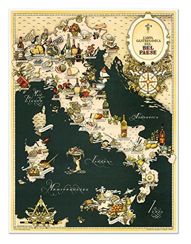 "The Gourmet MAP of Italy - Carta Gastronomica de Bel Paese circa 1949 - measures 32"" high x 24"" wide (813mm high x 610mm wide)"