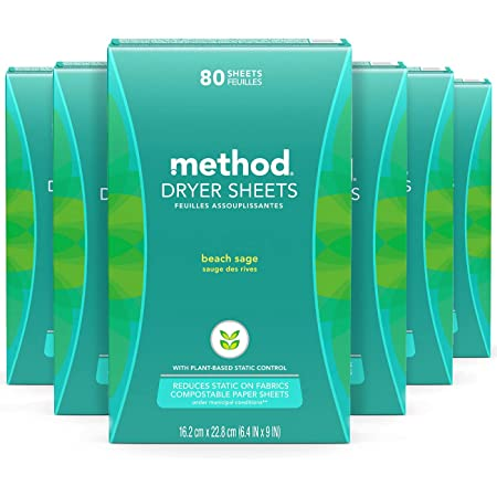 Method Dryer Sheets, Fabric Softener and Static Reducer, Compostable and Plant-Based Laundry Essentials, Beach Sage Scent, 80 Sheets per Box, 6 Pack (480 Total Sheets), Packaging May Vary
