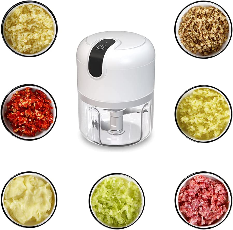Electric Garlic Chopper,Mini Food Chopper Processor, Manual Food Processor with Three Blade Built-in Battery and USB Charging,Suitable for Chopping Vegetables and Fruits(250ML)