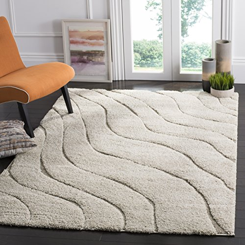 Safavieh Florida Shag Collection SG472-1113 Abstract Wave Textured 1.18-inch Thick Area Rug, 6' x 9', Cream/Beige