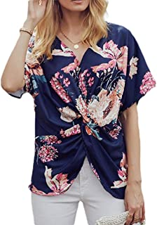 Womens V Neck Tops Floral Print Ruffle Short Sleeve Tie Knot Front Shirts Blouses