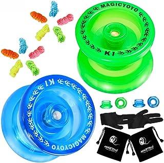 Magie Yoyo マジックヨーヨーアルミ製プロヨーヨー - 青 スピニング ストリング付 おもちゃ ホビー (k1 Crystal blue +Green)
