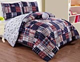 GrandLinen 4 - Piece Kids Queen Size Baseball Sports Theme Comforter Set with Plush Toy Included-Navy Blue, Red, White and Beige Plaid. Boys, Girls, Guest Room and School Dorm, Dormitory Bedding