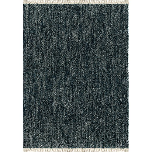 "Orian Rugs Bedouin Collection 5003 Solid Area Rug with Fringe, 7'10"" x 10'10"", Indigo"